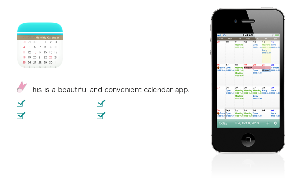 Calendar which specializes in Month view. Moca / iPhone Application